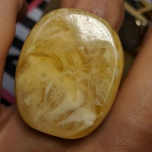 Jewelry - Huge Vintage Amber Honey Lucite Statement Ring 6